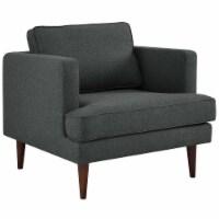 Agile Upholstered Fabric Armchair - Gray - 1