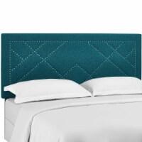 Reese Nailhead King and California King Upholstered Linen Fabric Headboard - Teal - 1
