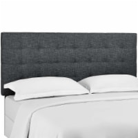 Paisley Tufted Twin Upholstered Linen Fabric Headboard - Gray - 1