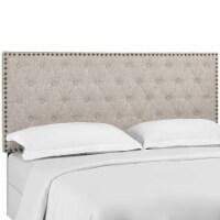Helena Tufted Twin Upholstered Linen Fabric Headboard - Beige - 1