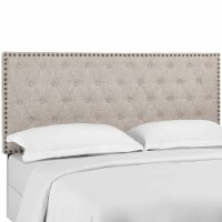 Helena Tufted King and California King Upholstered Linen Fabric Headboard - Beige - 1