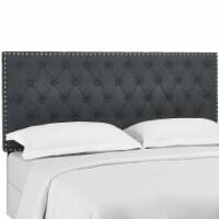 Helena Tufted King and California King Upholstered Linen Fabric Headboard - Gray - 1