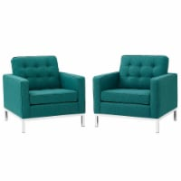Loft Armchairs Upholstered Fabric Set of 2 - Teal - 1
