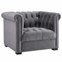 Heritage Upholstered Velvet Armchair - Gray - 1