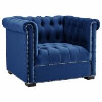 Heritage Upholstered Velvet Armchair - Midnight Blue - 1