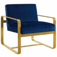 Astute Upholstered Velvet Armchair - Navy - 1