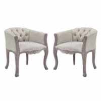 Crown Vintage French Upholstered Fabric Dining Armchair Set of 2 - Beige - 1