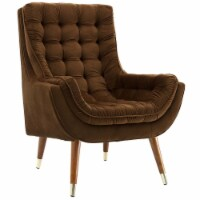 Suggest Button Tufted Upholstered Velvet Lounge Chair - Brown - 1