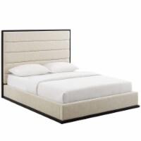 Ashland Queen Upholstered Linen Fabric Platform Bed - Beige - 1