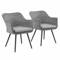 Endeavor Dining Armchair Outdoor Patio Wicker Rattan Set of 2 - Gray Gray