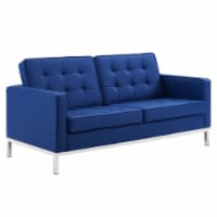 Loft Tufted Upholstered Faux Leather Loveseat - 1