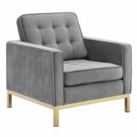 Loft Gold Stainless Steel Performance Velvet Armchair - 1