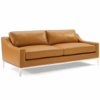 """Harness 83.5"""" Stainless Steel Base Leather Sofa Tan - 1"""