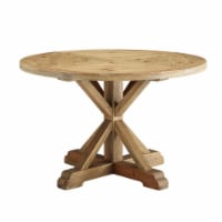 """Stitch 47"""" Round Pine Wood Dining Table - Brown - 1"""