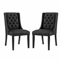 Baronet Dining Chair Vinyl Set of 2 - Black - 1