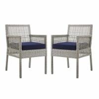 Aura Dining Armchair Outdoor Patio Wicker Rattan Set of 2 - Gray Navy