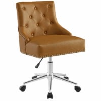Regent Tufted Button Swivel Faux Leather Office Chair,Tan - 1 unit