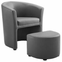 Divulge Armchair and Ottoman Gray - 1