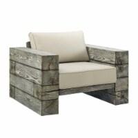Manteo Rustic Coastal Outdoor Patio Sunbrella  Lounge Armchair Light Gray Beige - 1