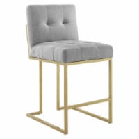 Privy Gold Stainless Steel Upholstered Fabric Counter Stool Gold Light Gray