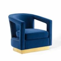 Frolick Performance Velvet Armchair Navy - 1