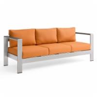 Shore Outdoor Patio Aluminum Sofa Silver Orange - 1