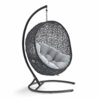 Encase Sunbrella Swing Outdoor Patio Lounge Chair Black Gray - 1