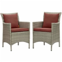 Conduit Outdoor Patio Wicker Rattan Dining Armchair Set of 2 Light Gray Currant - 1