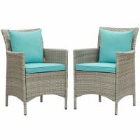 Conduit Outdoor Patio Wicker Rattan Dining Armchair Set of 2 Light Gray Turquoise - 1