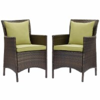 Conduit Outdoor Patio Wicker Rattan Dining Armchair Set of 2 Brown Peridot