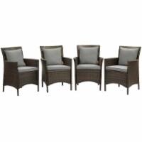 Conduit Outdoor Patio Wicker Rattan Dining Armchair Set of 4 Brown Gray - 1