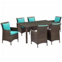 Conduit 7 Piece Outdoor Patio Wicker Rattan Dining Set Brown Turquoise - 1