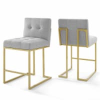 Privy Gold Stainless Steel Upholstered Fabric Counter Stool Set of 2 Gold Light Gray - 1