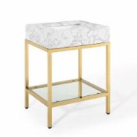 "Kingsley 26"" Gold Stainless Steel Bathroom Vanity Gold White - 1"