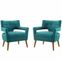 Sheer Upholstered Fabric Armchair Set of 2 Teal - 1