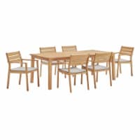 Viewscape 7 Piece Outdoor Patio Ash Wood Dining Set Natural Taupe - 1