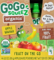 GoGo Squeez Organic Fruit On The Go Apple Banana Pouches