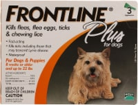 Frontline Plus  for Dogs Up to 22 lbs - 3 Tubes
