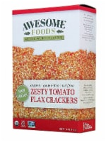 Awesome Foods  Flax Crackers Gluten Free   Zesty Tomato