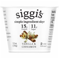 Siggi's 2% Vanilla & Cinnamon Skyr Icelandic-Style Low-Fat Strained Yogurt
