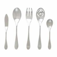 Knork 5 Piece Stainless Steel Dishwasher Safe Flatware Spoon Serving Set, Silver - 1 Unit