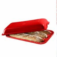 Emile Henri Ceramic Baguette Bread 3 Loaf Oven Baking Pan with Lid, Burgundy - 1 Piece