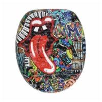 Sanilo 334 Round Soft Close Lid Wood Adjustable Toilet Seat, Street Art Graffiti - 1 Piece