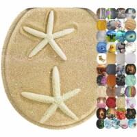 Sanilo 346 Round Soft Close Lid Wood Toilet Seat, Beach Starfish, Sea Stars - 1 Piece