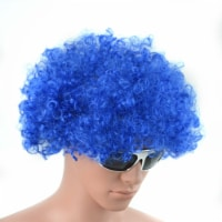 Blue Curly Afro Wig Fancy Dress Party Costume Accessory Disco Clown Unisex 70s - 1