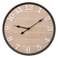 Glitzhome Farmhouse Modern Black Metal/Wooden Wall Clock