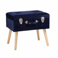 Glitzhome Velvet & Wooden Upholstered Storage Stool - Navy Blue