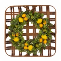 Glitzhome Bamboo Tobacco Basket with Greenery Lemon Wreath