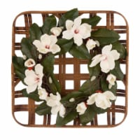 Glitzhome Bamboo Tobacco Basket with Artificial Magnolia Wreath