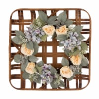 Bamboo Tobacco Basket with Hydrangea Rose Wreath